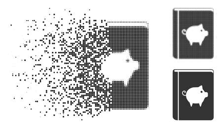Pig handbook icon in fragmented, dotted halftone and entire versions. Elements are composed into vector disappearing pig handbook icon. Disintegration effect involves rectangle particles. Ilustrace
