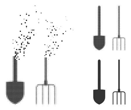 Pitchfork and shovel tools icon in fractured, dotted halftone and entire versions. Elements are arranged into vector disappearing pitchfork and shovel tools symbol.