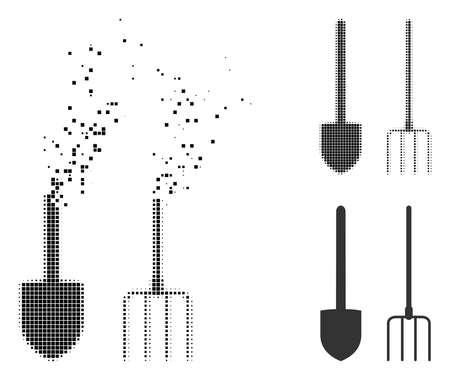 Heugabel- und Schaufelwerkzeugsymbol in gebrochenen, gepunkteten Halbton- und ganzen Versionen. Die Elemente sind in einem Symbol angeordnet, bei dem die Mistgabel und das Schaufelwerkzeug verschwinden. Vektorgrafik