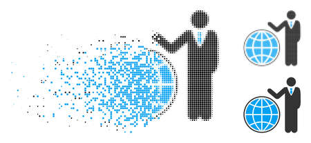 Planetary manager icon in dispersed, pixelated halftone and undamaged versions. Particles are organized into vector disappearing planetary manager symbol. Illustration