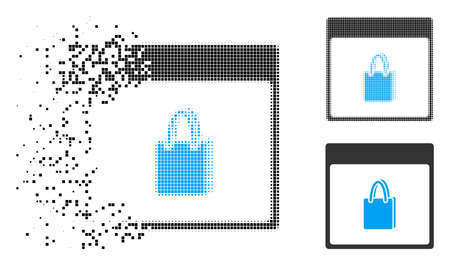 Shopping bag calendar page icon in dispersed, pixelated halftone and whole variants. Particles are grouped into vector disappearing shopping bag calendar page form.