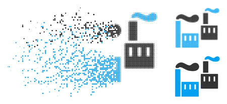 Smoking industry icon in fractured, pixelated halftone and original versions. Pixels are combined into vector disappearing smoking industry icon. Disappearing effect involves rectangle particles.