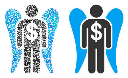 Angel investor mosaic of dollar symbols and small round pixels. Vector dollar currency symbols are grouped into angel investor figure. Illustration