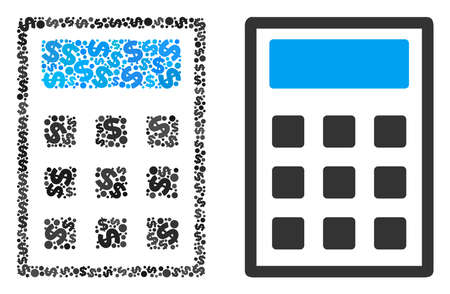 Calculator collage of dollar symbols and small round pixels. Vector dollar currency pictograms are united into calculator composition.