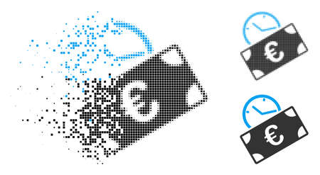 Euro recurring payment icon in dispersed, dotted halftone and solid versions. Elements are composed into vector dispersed Euro recurring payment symbol.