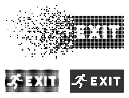 Emergency exit icon in fragmented, dotted halftone and whole versions. Pixels are grouped into vector disappearing emergency exit icon. Disappearing effect uses square dots. Stock Illustratie
