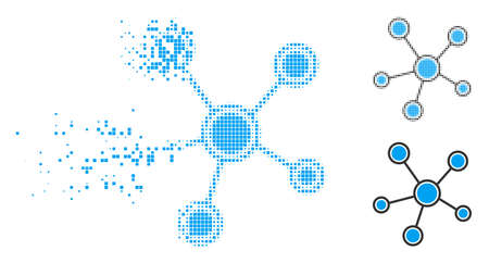 Network links icon in fractured, pixelated halftone and entire variants. Points are grouped into vector disappearing network links figure. Disappearing effect involves square scintillas.