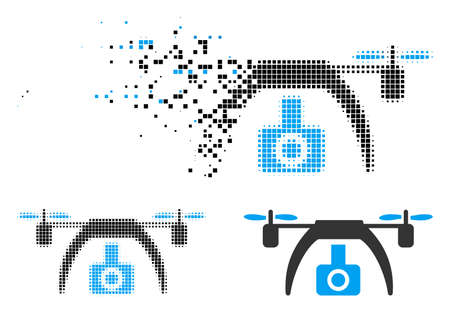 Drone video camera icon in dispersed, dotted halftone and entire versions. Elements are combined into vector disappearing drone video camera icon. Disappearing effect involves rectangular dots.