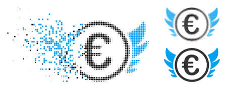 Euro angel investment icon in dissolved, pixelated halftone and original variants. Particles are organized into vector disappearing Euro angel investment icon.
