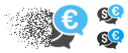 Currency bids icon in fractured, dotted halftone and original versions. Elements are grouped into vector disappearing currency bids icon. Disappearing effect involves rectangular particles. Ilustrace