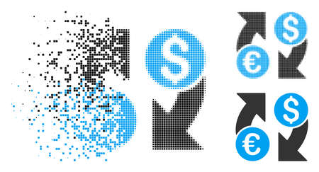 Currency change icon in fractured, dotted halftone and solid variants. Particles are grouped into vector disappearing currency change symbol. Disappearing effect involves square particles. Ilustrace