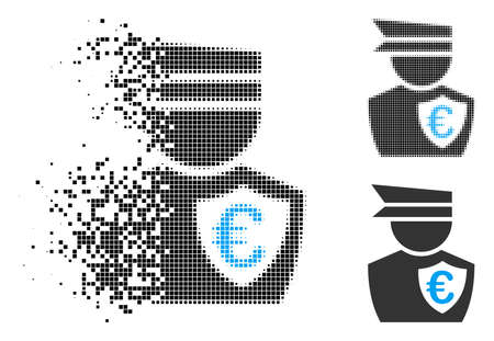 Euro commissioner icon in dispersed, pixelated halftone and whole variants. Particles are grouped into vector dispersed Euro commissioner symbol. Disappearing effect involves rectangular particles. Illustration