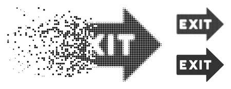 Exit arrow icon in dissolved, pixelated halftone and entire versions. Fragments are combined into vector disappearing exit arrow pictogram. Disappearing effect uses square dots.