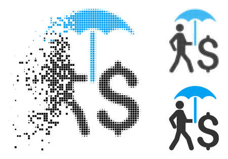 Walking businessman with umbrella icon in fractured, pixelated halftone and original versions. Pieces are grouped into vector dissipated walking businessman with umbrella shape. Illustration
