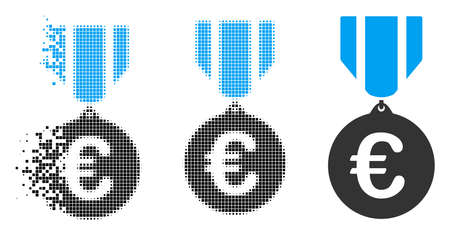 Euro honor medal icon in fragmented, dotted halftone and whole versions. Pieces are arranged into vector dissipated Euro honor medal icon. Disintegration effect uses square dots. 版權商用圖片 - 108366290