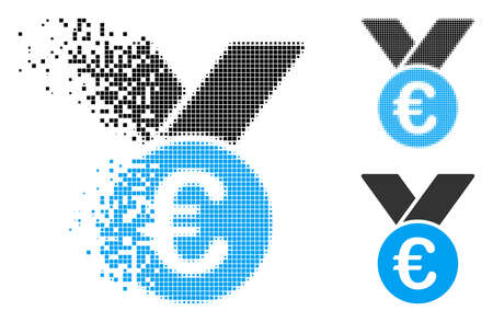 Euro prize medal icon in fragmented, pixelated halftone and whole versions. Pixels are grouped into vector disappearing Euro prize medal icon. Disappearing effect uses square dots.