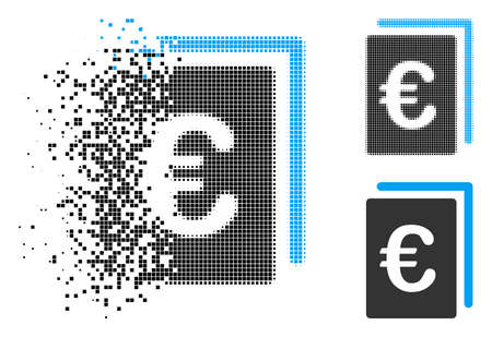 Euro document icon in fractured, dotted halftone and entire versions. Pieces are arranged into vector disappearing Euro document pictogram. Disappearing effect uses rectangle dots.