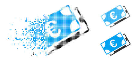 Euro banknotes icon in dispersed, dotted halftone and entire variants. Fragments are organized into vector dispersed Euro banknotes shape. Disintegration effect uses square dots. Ilustração