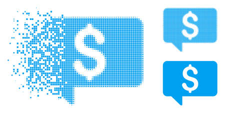 Price message icon in fractured, dotted halftone and original versions. Elements are organized into vector disappearing price message figure. Disappearing effect involves rectangular scintillas.