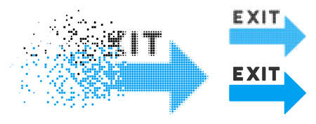 Exit arrow icon in dispersed, pixelated halftone and original variants. Fragments are grouped into vector dispersed exit arrow icon. Disintegration effect involves square particles. Stockfoto - 108367087