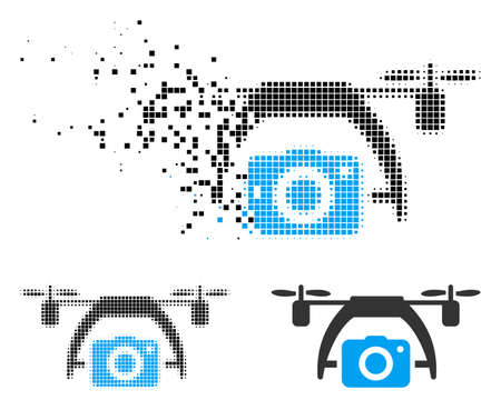 Photo drone icon in fractured, pixelated halftone and entire versions. Fragments are arranged into vector dissipated photo drone icon. Disintegration effect involves rectangle scintillas.  イラスト・ベクター素材