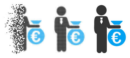 Euro banker icon in fragmented, dotted halftone and whole variants. Cells are composed into vector disappearing Euro banker form. Disappearing effect uses square dots.