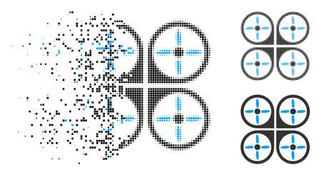 Copter icon in fractured, pixelated halftone and entire variants. Elements are arranged into vector disappearing copter shape. Disappearing effect uses rectangular scintillas. Reklamní fotografie - 109888692