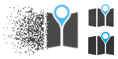 Paper map icon in dissolved, pixelated halftone and whole variants. Fragments are combined into vector disappearing paper map symbol. Disappearing effect involves square scintillas.