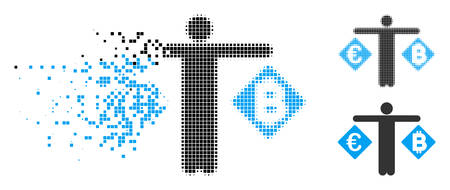 Person compare Euro and Bitcoin icon in fractured, dotted halftone and entire versions. Fragments are organized into vector dispersed person compare Euro and Bitcoin icon.