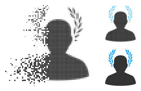 Caesar icon in dispersed, dotted halftone and entire versions. Elements are combined into vector dispersed caesar symbol. Disappearing effect uses rectangle particles.