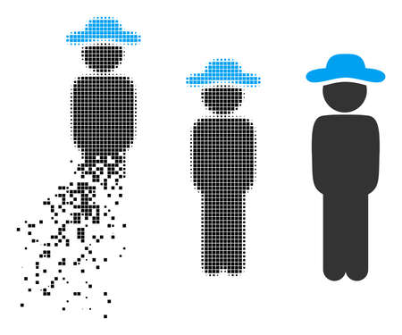 Gentleman standing icon in fragmented, pixelated halftone and original versions. Pieces are composed into vector disappearing gentleman standing icon. Disappearing effect uses rectangle scintillas. Ilustrace