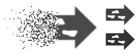 Exit direction icon in dissolved, pixelated halftone and undamaged versions. Pieces are composed into vector disappearing exit direction icon. Disintegration effect involves rectangle dots.