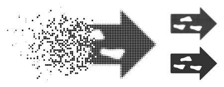 Exit-richtingspictogram in opgeloste, korrelige halftoon- en onbeschadigde versies. Stukken zijn samengesteld in vector verdwijnende uitgangsrichting icoon. Het desintegratie-effect omvat rechthoekige stippen. Vector Illustratie