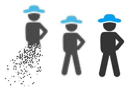 Gentleman audacity icon in fragmented, pixelated halftone and entire versions. Particles are organized into vector dispersed gentleman audacity icon. Disappearing effect uses rectangular particles.