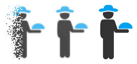 Gentleman waiter icon in dissolved, dotted halftone and whole variants. Cells are organized into vector dispersed gentleman waiter icon. Disappearing effect uses rectangular particles. Vectores
