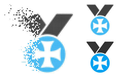 Maltese medal icon in dissolved, dotted halftone and original versions. Cells are arranged into vector disappearing maltese medal icon. Disappearing effect involves rectangle scintillas. Illustration