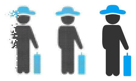 Gentleman baggage icon in dispersed, pixelated halftone and original variants. Particles are arranged into vector dispersed gentleman baggage icon. Disappearing effect uses square dots.