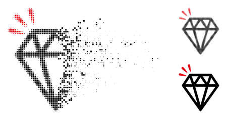 Diamond crystal icon in dispersed, pixelated halftone and entire variants. Cells are arranged into vector dissolving diamond crystal pictogram. Disappearing effect uses square particles.