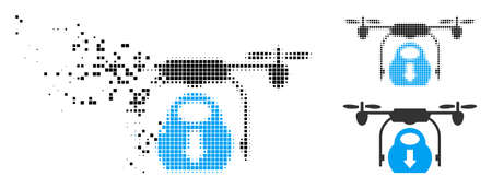 Drone drop cargo icon in dispersed, pixelated halftone and original versions. Particles are arranged into vector disappearing drone drop cargo shape. Disappearing effect uses square particles. Ilustrace