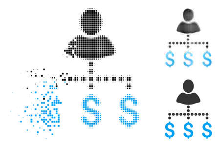 Person payments icon in dissolved, pixelated halftone and original variants. Fragments are arranged into vector disappearing person payments icon. Disappearing effect uses rectangular scintillas.