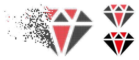 Diamond icon in fragmented, dotted halftone and entire versions. Pixels are combined into vector disappearing diamond form. Disappearing effect involves square dots.