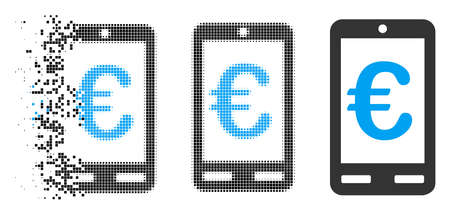 Euro mobile bank icon in dissolved, dotted halftone and entire versions. Pixels are composed into vector dispersed Euro mobile bank icon. Disintegration effect uses rectangular dots.