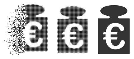 Euro weight icon in fragmented, pixelated halftone and solid versions. Pixels are combined into vector disappearing Euro weight shape. Disappearing effect involves rectangular dots.