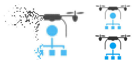 Drone distribution icon in dissolved, pixelated halftone and undamaged variants. Cells are grouped into vector disappearing drone distribution icon. Disappearing effect uses rectangular dots.