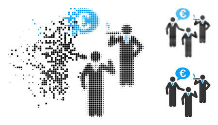 Euro discuss people icon in fragmented, dotted halftone and entire versions. Fragments are arranged into vector disappearing Euro discuss people icon. Disintegration effect uses rectangle dots.