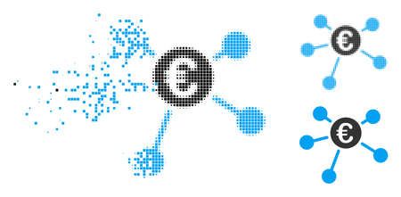 Euro links icon in dispersed, dotted halftone and whole versions. Particles are organized into vector disappearing Euro links symbol. Disappearing effect involves rectangle particles. Reklamní fotografie - 109888949