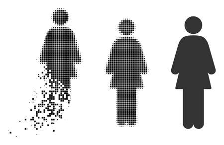 Woman icon in fragmented, pixelated halftone and entire variants. Fragments are combined into vector disappearing woman icon. Disappearing effect uses square particles. Ilustrace