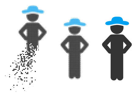 Gentleman akimbo icon in dissolved, dotted halftone and solid variants. Cells are organized into vector disappearing gentleman akimbo icon. Disappearing effect uses square scintillas. Ilustrace