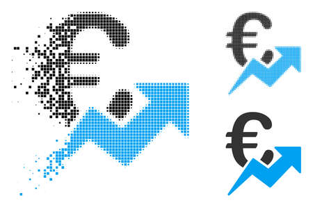 Euro growth icon in dispersed, dotted halftone and original versions. Elements are grouped into vector dispersed Euro growth icon. Disappearing effect involves square dots. Ilustração