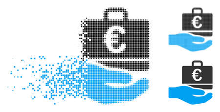 Euro accounting hand icon in dispersed, dotted halftone and undamaged variants. Particles are arranged into vector disappearing Euro accounting hand shape.